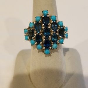 Jewelry - Turquoise and Sapphire Ring Size 7 1/2